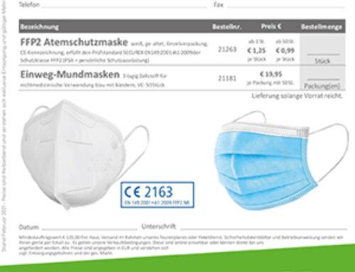 Atemschutzmasken FFP 2 & Einweg-Mundmasken